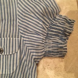 Passport Tops - Adorable lightweight blue and white striped top